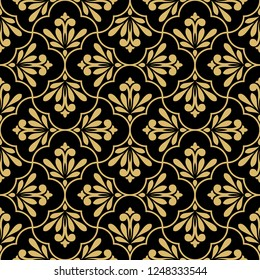 Flower geometric pattern. Seamless vector background. Gold and black ornament. Ornament for fabric, wallpaper, packaging. Decorative print