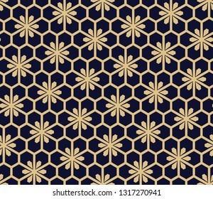 Flower geometric pattern. Seamless vector background. Gold and dark blue ornament. Ornament for fabric, wallpaper, packaging, Decorative print