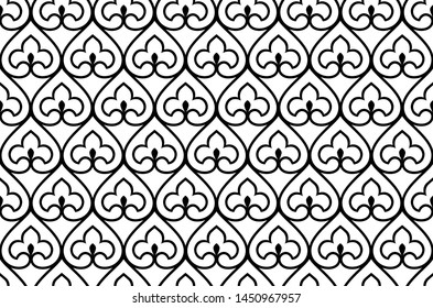 Flower geometric pattern. Seamless vector background. White and black ornament. Ornament for fabric, wallpaper, packaging. Decorative print