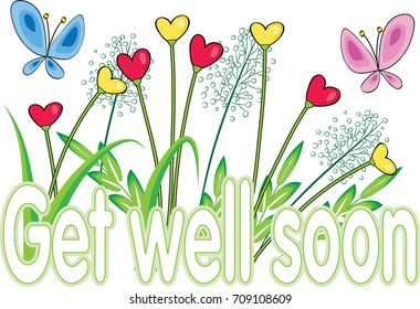 flower with get well soon greeting card