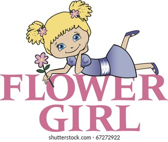 Flower Girl with Blonde Curly Hair Caucasian