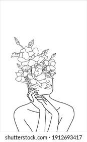 Flower Girl illustration Vector Art Design for home decoration