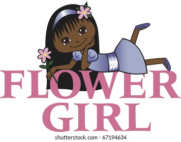 Flower Girl with Long Black Hair Dark Skin Tone