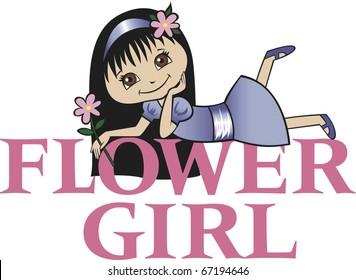 Flower Girl with Long Black Hair
