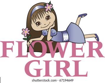 Flower Girl with Long Brunette Hair