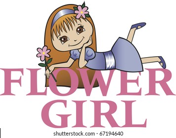 Flower Girl with Long Red Hair
