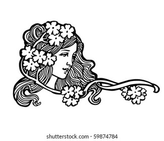 Flower Girl - Retro Clip Art