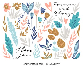 Flower graphic design for card and invitation. Vector set of floral elements with hand drawn flowers and love lettering. Cute wedding collection.