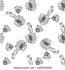 Flower graphic design. Cute seamless vector tile pattern. Retro vintage. line chamomile design.