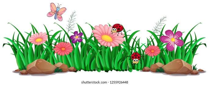 Flower and grass for decor illustration