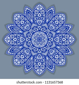 flower gzhel deco round mandala design decorative elements vector. indigo blue line and white area for coloring. shadow around of mandala and color background Arab, islam, Indian, Chinese yoga illustration