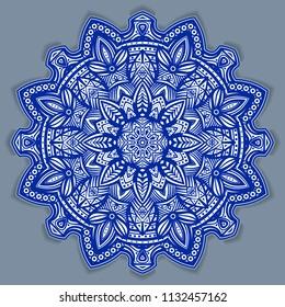 flower gzhel deco round mandala design decorative elements vector.indigo,blue line and white area for coloring.shadow around of mandala and color background.arab,islam,indian,chinese yoga illustration