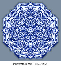 flower gzhel deco round mandala design decorative elements vector.indigo,blue line and white area for coloring.shadow around of mandala and color background.arab,islam,indian,chinese yoga illustration
