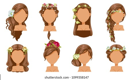 Flower  hair. bride hairstyle, princess accessories. beautiful  hairstyle. modern fashion for assortment. long , short, curly  salon trendy haircut. vector icon set isolated on white background.