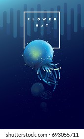 Flower hat jellyfish swimming under the ocean surface in glowing blue and turquoise colors