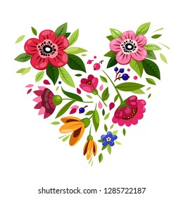 Flower heart. Heart from flowers. Vector illustration for holiday design. Symbol of love, romantic,passion.