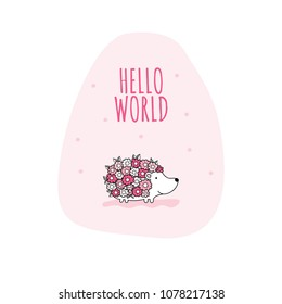 Flower hedgehog with the words hello world vector illustration on a pink background shape.