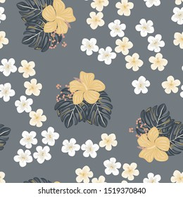 Flower Hibiscus And Tropical Leaf Floral Seamless Pattern. Hawaiian Summer Palm Vector Wallpaper Background. Exotic Flower And Monstera Leaves Texture Print.
