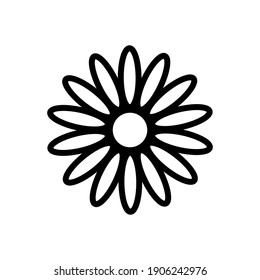 Flower icon. Chamomile. Black contour silhouette. Vector flat graphic illustration. The isolated object on a white background. Isolate.
