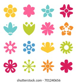 Flower icon collection in flat style. Daisy symbol or logo, template, pictogram. Blossom silhouette. Colorful 70s retro design vector illustration. Minimal style