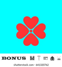Flower icon flat. Red pictogram on blue background. Vector illustration symbol and bonus buttons Music center, corkscrew, credit card, house, drum