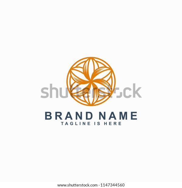 flower icon line art logo template vector illustration