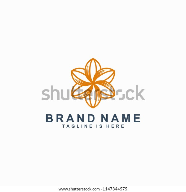 flower icon line art logo template vector illustration
