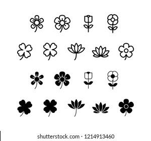 Flower Icon Logo Vector Symbol. Clover Icon