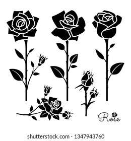 Flower icon. Rose silhouettes with leaves, buds and stems. Flower stencils. Floral decorative elements