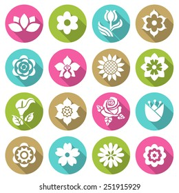 Flower icon set  flat style icons in circles with long shadows. Vector illustration.