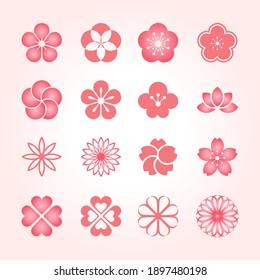 Flower icon set. Japanese style logo design
