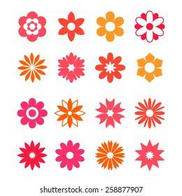 Flower icon set on white background. Vector illustration.