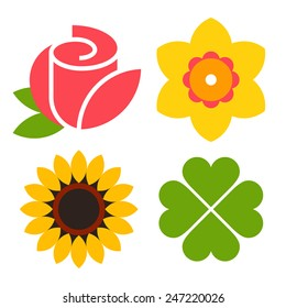 Flower icon set - rose, narcissus, sunflower and clover isolated on white background