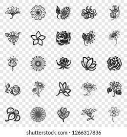 Flower icon set. Simple set of flower vector icons for web design