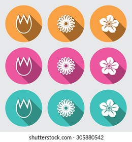 Flower icon set. Tulip, camomile, daisy, orchid. Floral symbol. White sign on round rose, yellow/orange, turquoise, flat buttons with long shadow on light gray background. Vector isolated.
