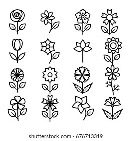 flower icon set vector illustration outline