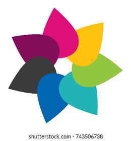 Flower icon, seven color tears like flower petals