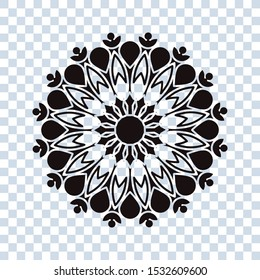 Flower icon trendy design template on white background. Abstract mandala graphic design. coloring book
