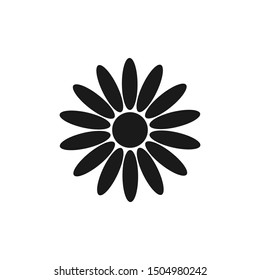Flower icon. Vector drawing. Black silhouette. Isolated object on a white background. Isolate.