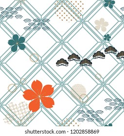 Flower icons and geometric pattern background. Japanese pattern vector.