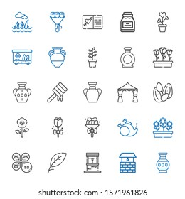 flower icons set. Collection of flower with vase, well, leaf, petals, flowers, without, bouquet, rose, seeds, wedding arch, honey, plant, terrarium. Editable and scalable flower icons.
