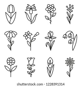 Flower icons set. Contains icons - chamomile, rose flower, cornflower, iris, calla, tulip and others. Vector.