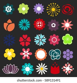 Flower icons set. Decorative floral symbols. Design element for wedding invitation, Valentines Day cards, wallpapers, web site background, baby shower invitation, birthday card, scrapbooking, etc.