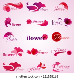 Flower Icons Set - Isolated On Pink Background - Vector illustration, Graphic Design Editable For Your Design. Flower Pink logo
