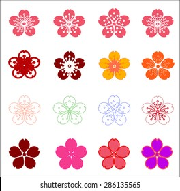 Flower icons set isolated on white.