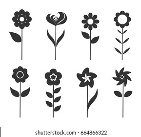 Flower icons set. Vector illustration