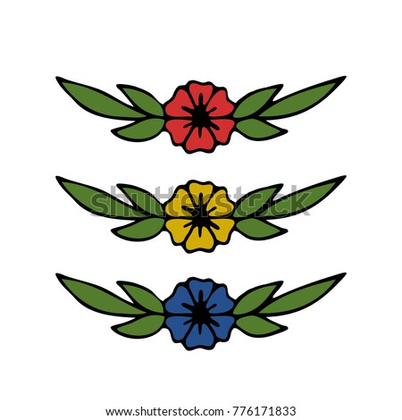 Flower Illustration Traditional Tattoo Flash Stock Vector Royalty