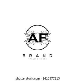 flower initial Letter AF Logo design - Vector