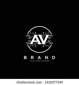 flower initial Letter AV Logo design - Vector