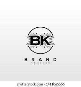 Flower initial Letter BK Logo design - Vector